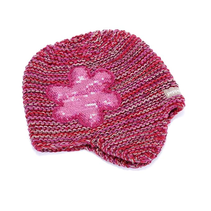 19fa4814ccc Amazon.com  Peppercorn Kids Sequin Flower Beanie- Pomegranate- Extra ...