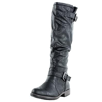 0abae67eba5 BAMBOO Women's Montage 02N Fashion Riding Boots with Buckle