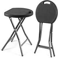 Rfiver Folding Stool 18 Inch Collapsible Round Stool Heavy Duty Steel Legs with 300 Pound Capacity for Dorm, Rec Room or Gameroom, 2-Pack Portable Lightweight Fold Up Stools in Black