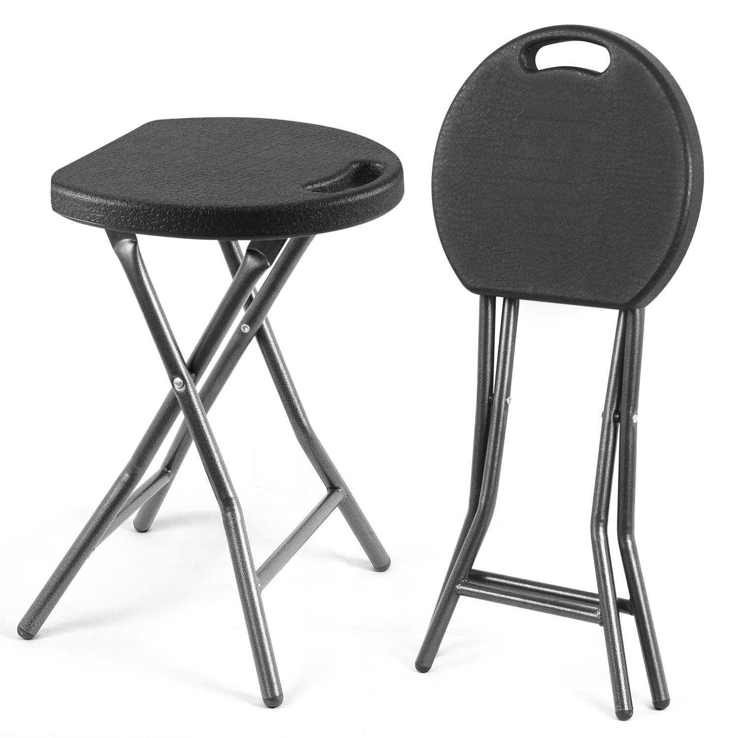 Rfiver Portable Folding Stools 18.1-Inch with Handle and 300 Pound Capacity Heavy Duty for Indoor Outdoor, Lightweight Foldable Stool Chairs Collapsible Round Stools, Set of 2 in Black by Rfiver