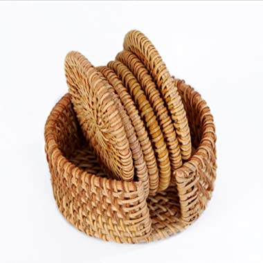 Best-mall Round Vitenam Rattan Coasters with Holder, Set of 7 (10CM)