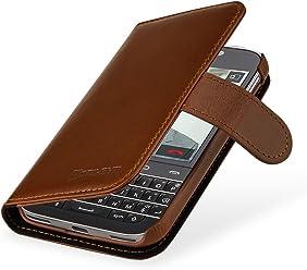 StilGut - Custodia per BlackBerry Classic Q20 Talis in pelle con tasca per carte, cognac
