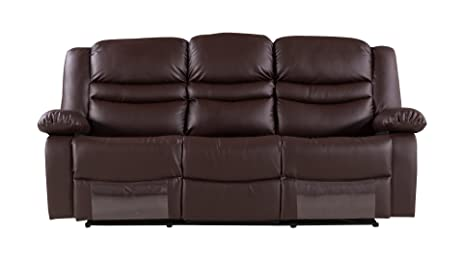 American Eagle Furniture Bayfront Collection Faux Leather Reclining Sofa  With Pillow Top Armrests, Dark Brown