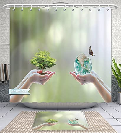 Unique Custom Bathroom 2 Piece Set World Biodiversity For Sustainable Ecological Environment And Harmony Living