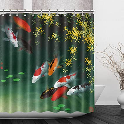 LB Asian Japanese Colorful Koi Fish In Pond Decor Shower Curtain For Bathroom By Zen