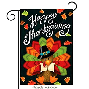 "Happy Thanksgiving Garden Flag Cute Colorful Turkey with Autumn Leaves Double-Sided, Premier Polyester, Thanksgiving Yard Flag to Bright Up Your Garden 12.5"" x 18"""