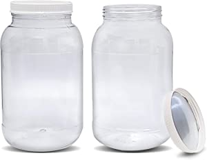 ljdeals 1 Gallon Clear Plastic Jars with Ribbed Heat Induction Liner Caps Wide Mouth Storage Containers, Pack of 2, BPA Free, made in USA