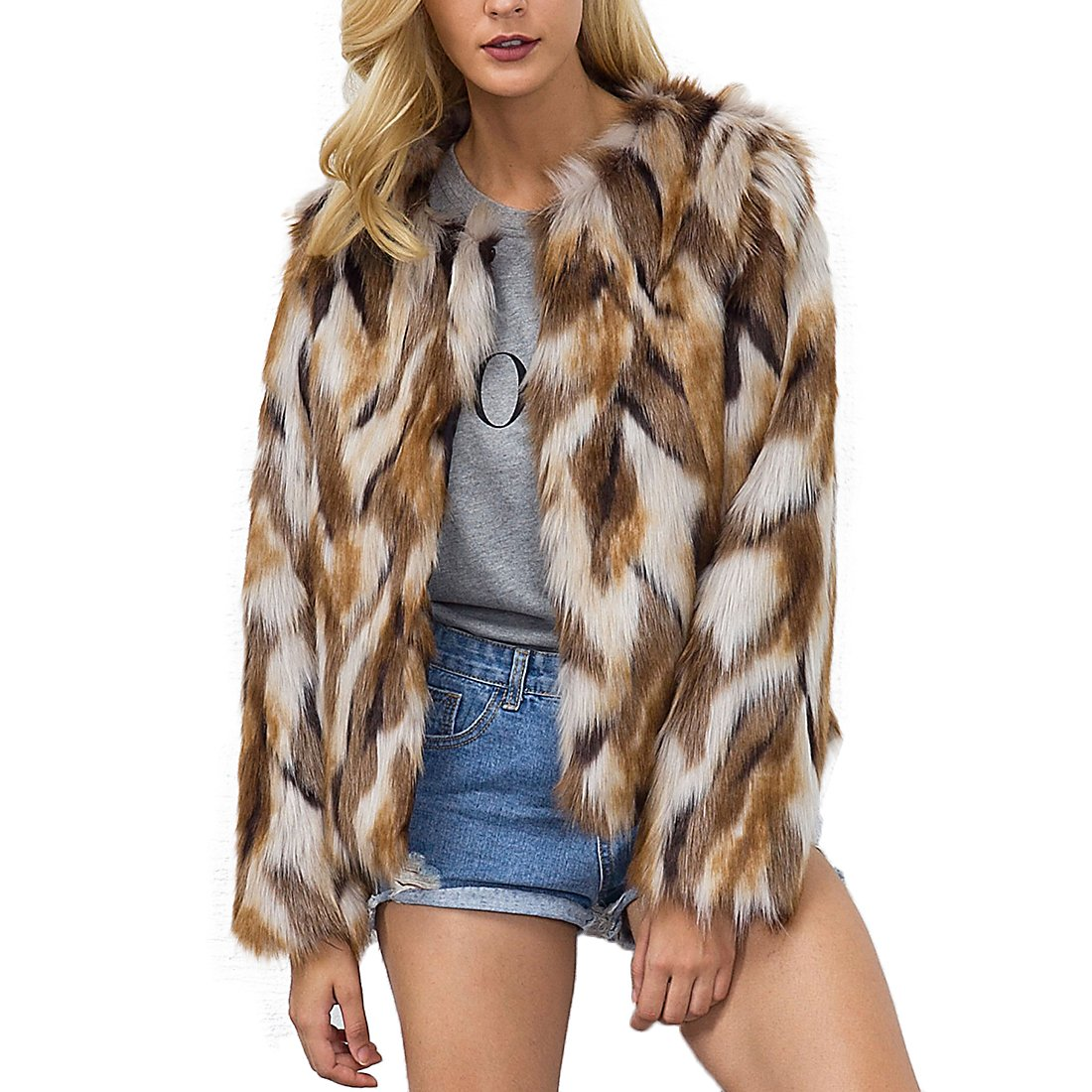 933a30d67c1 Womens Winter Warm Colorful Faux Fur Coat Chic Jacket Cardigan Outerwear  Tops for Party Club Cocktail
