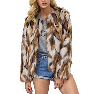 6a3c37dc270 Womens Winter Warm Colorful Faux Fur Coat Chic Hooded Jacket Cardigan  Outerwear Tops for Party Club