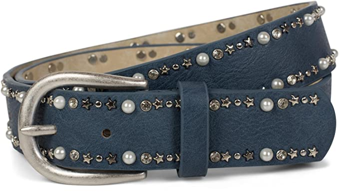 19df0194646634 styleBREAKER Gürtel mit Perlen, Strass und Stern Nieten, Nietengürtel,  kürzbar, Damen 03010087