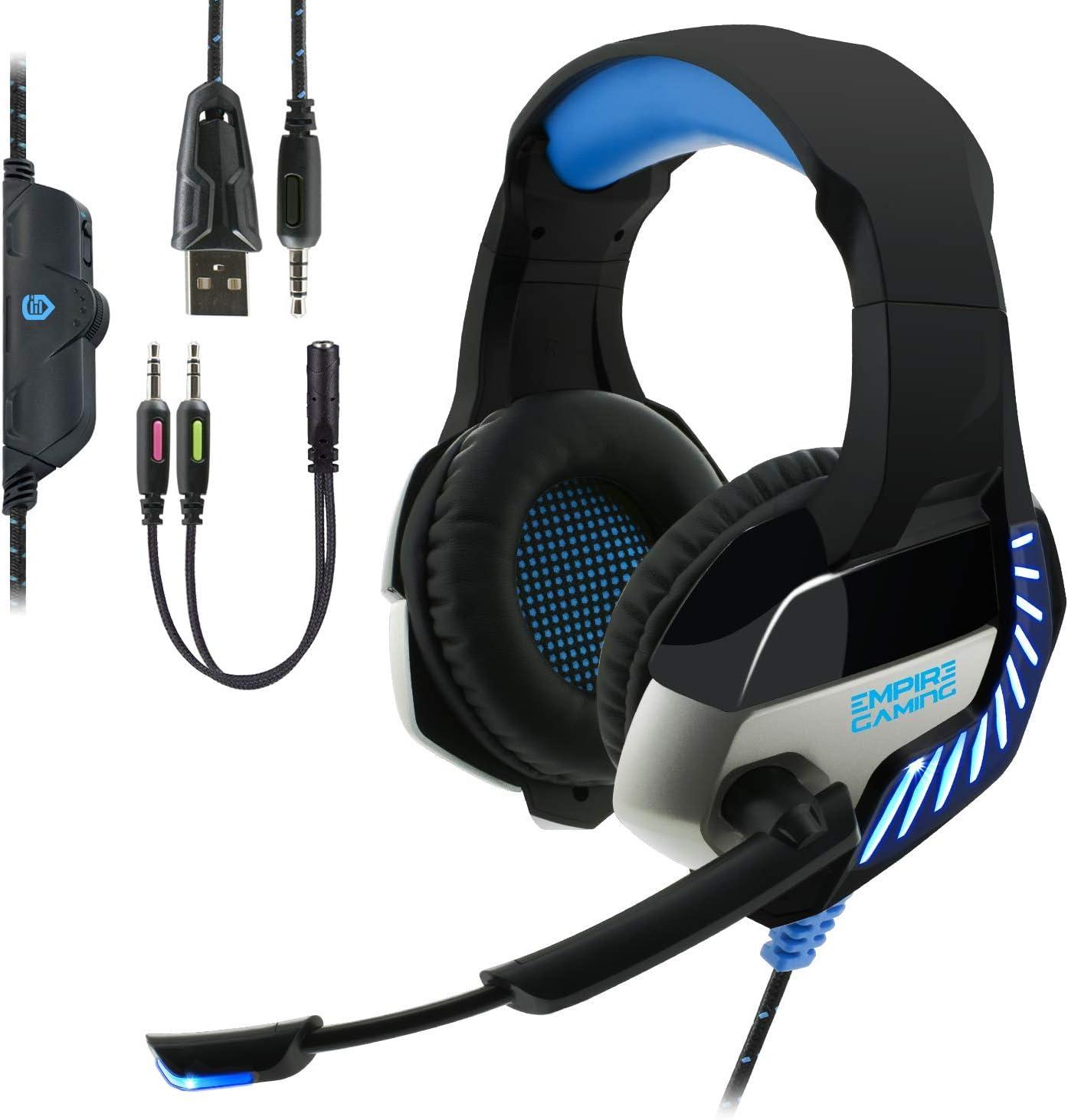 EMPIRE GAMING - Auriculares Gaming H1200 para PC, Mac, Auriculares Gamer para PS4, Nintendo Switch y Xbox One – Estéreo Micrófono con tecnología de reducción de Ruido: Amazon.es: Informática