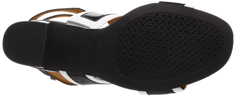 Geox Damen D Audalies High Sandaleo C C C RiemchenSandale Schwarz (Weiß/schwarz) fe05d9