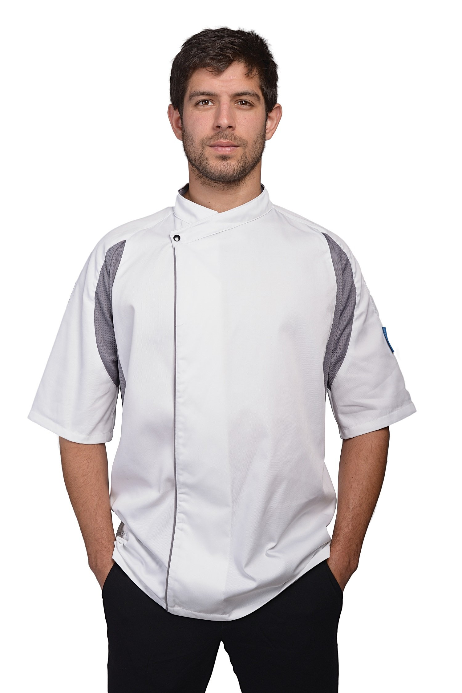 Le Chef Staycool Executive Short Sleeved Tunic - 3 Colours / - White/ Grey - XS by Le Chef