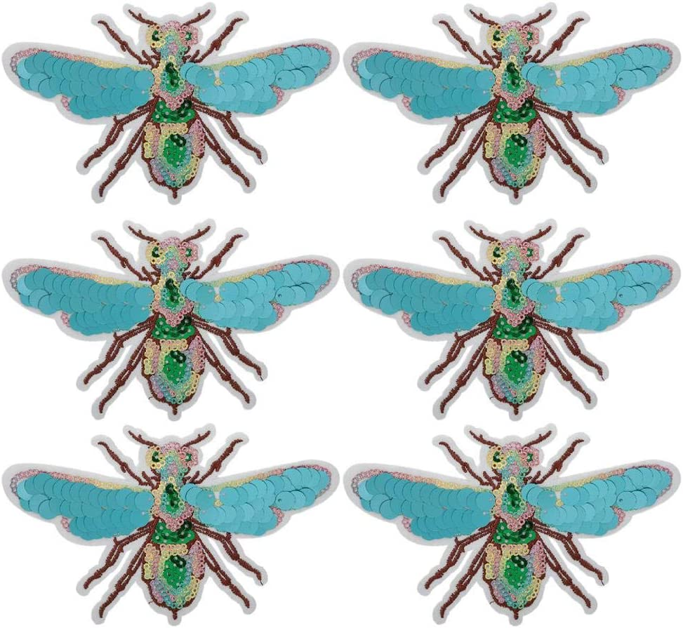6Pcs Embroidered Patch DIY Hand-Made Insect Pattern Sewing Embroidery Cloth Stickers Clothing Embroidery Patch Applique Craft Accessories for Coat T-Shirt Skirt Jeans Jacket Dragonfly