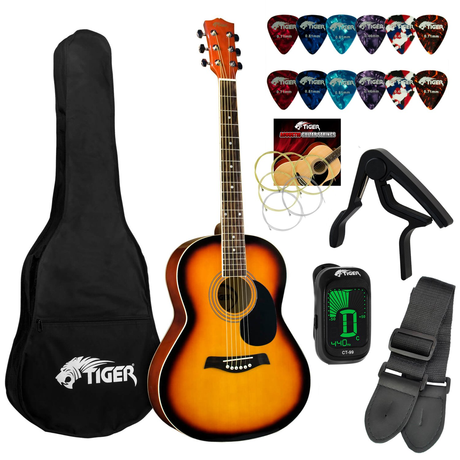 Tiger Beginners Acoustic Guitar Package - Sunburst TIGERMUSIC AZK-ACG2-SB-K