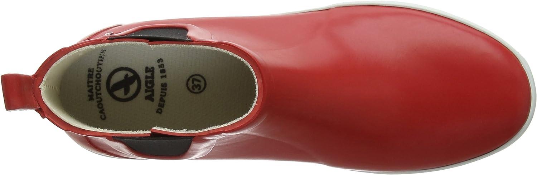 Aigle Damen Malouine Chelsea Gummistiefel Rot Red White