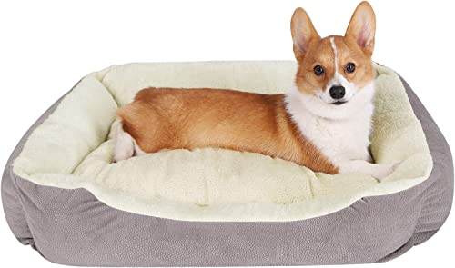 JEMA Rectangle Dog Bed – Lounger for Dogs Cats with Non Slip Waterproof Bottom,Medium Cuddler Pet Bed