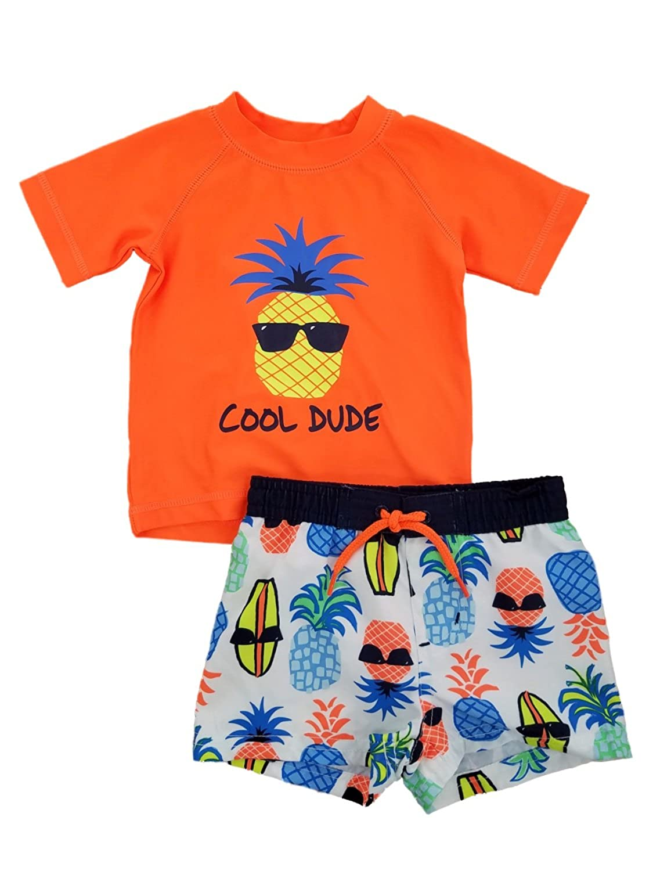 Infant Boys Orange//White Cool Dude Pineapple Rash Guard /& Swim Trunks Set