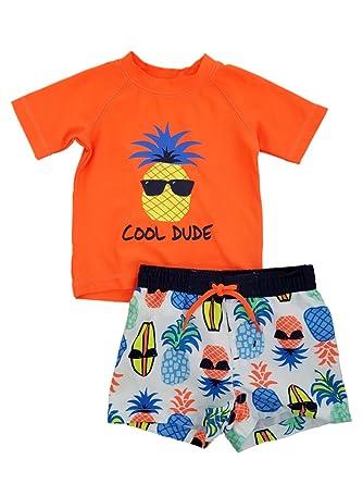 dac7ece82b Infant Boys Orange/White Cool Dude Pineapple Rash Guard & Swim Trunks Set  ...