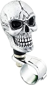 Lunsom Skull Shape Steering Wheel Spinner Resin Driving Power Handle Control Grip Booster Suicide Knob Car Turning Aid Helper Fit Universal Vehicle Red