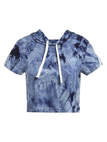 1e8c31e83d8 SweatyRocks Women's Tie Dye Short Sleeve Hoodie Crop Top T Shirt Blue S