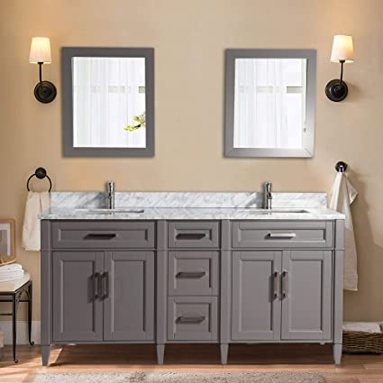 Vanity Art 72 Inch Double Sink Bathroom Vanity Set | Carrara Marble Stone  Soft Closing Doors Undermount Rectangle Sinks with Free Two Mirror - ...