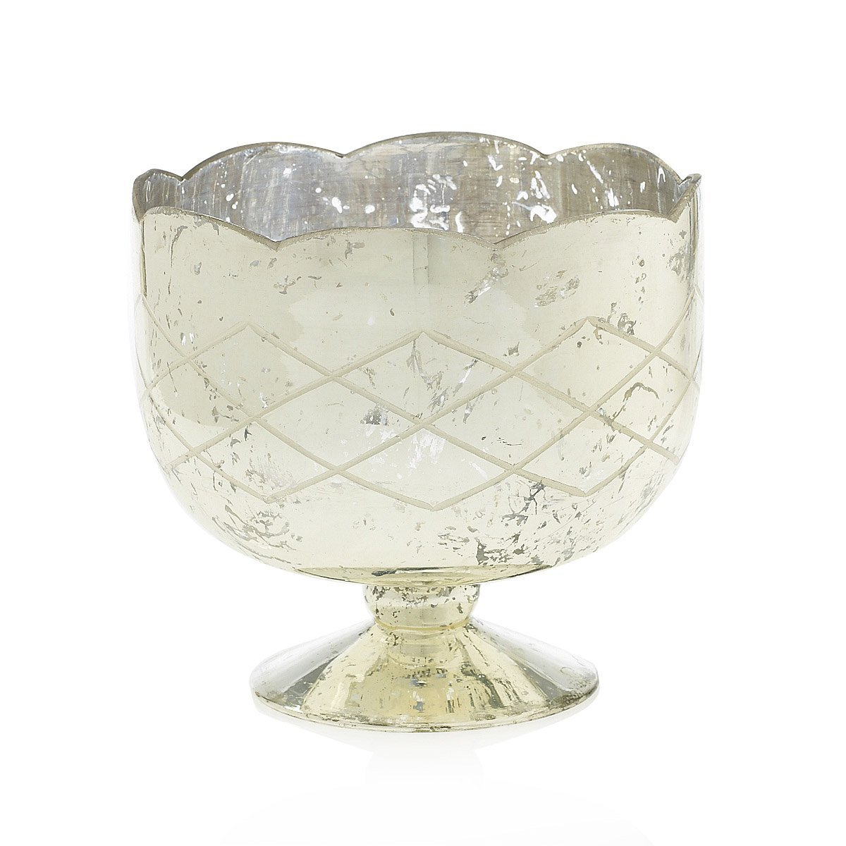 Mercury Glass Compote Dish, Bowl with Pedestal, 7.25 in. tall, Silver Accent Decor Inc.