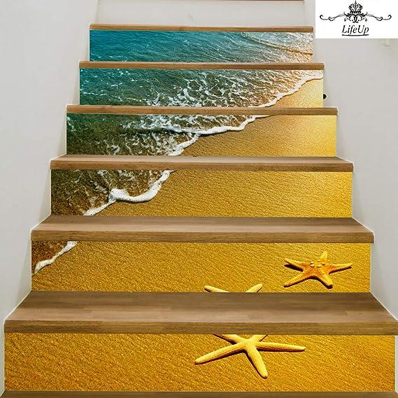 LifeUp Calcomanías de escaleras 3D Etiquetas engomadas de la Escalera, Escaleras a Prueba de Agua Pegatinas Azulejos, Pegatinas de Vinilo Removibles para la decoración del hogar,6 Piezas (09): Amazon.es: Hogar