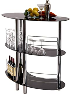 home cocktail bar furniture. Raki Luxury Curved Black Glass Chrome Detailing 3-Tier Home Pub Bar Table Cocktail Furniture T