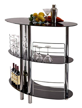 CURVED Black Glass 3 Tier Home Pub Bar Table