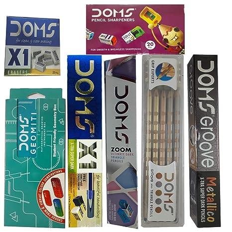 10 X DOMS Zoom Ultimate Dark Triangle Pencils Free One Eraser /& Sharpener Inside