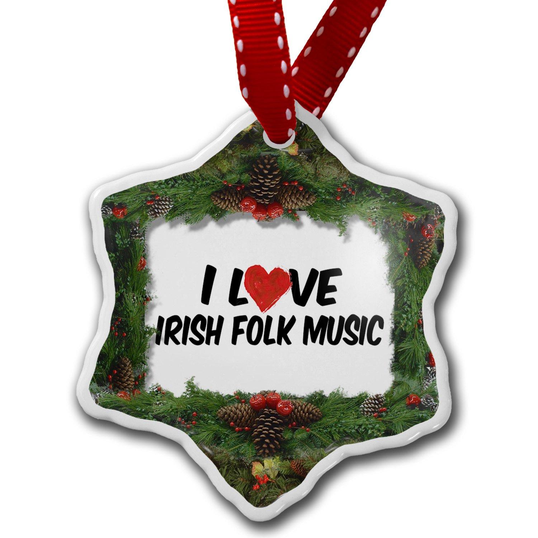Amazon.com: NEONBLOND Christmas Ornament I Love Irish Folk Music ...