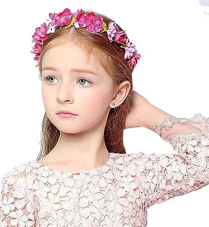 KMALL Rosa coroncina fiori capelli regolabile fiore per sposa damigella  d onore bambina donna per 0241a843ae69