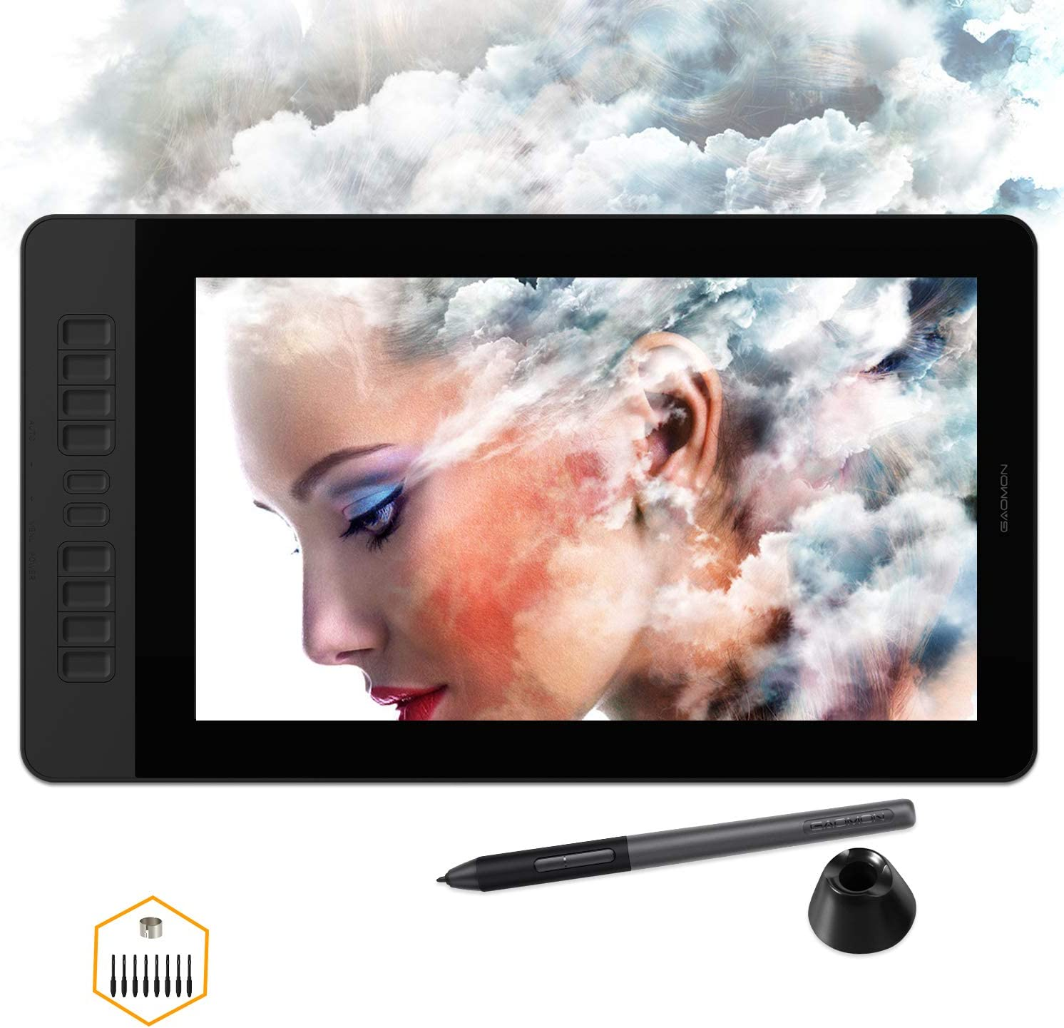 GAOMON PD1561 Pen Display with Tilt-Support Battery-Free 8192 Level Pen 10 Shortcut Keys HD Screen Drawing Tablet with Monitor Stand - 15.6 Inches