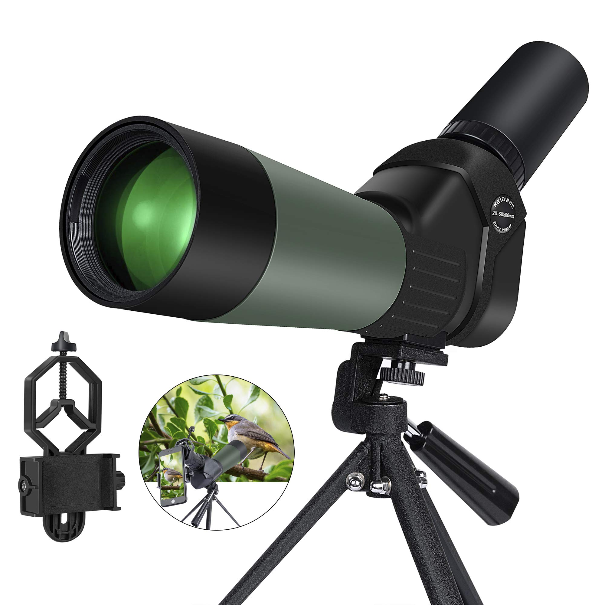 Kalawen 20-60x60 HD Spotting Scope with Tripod, Optics Zoom 57-120Ft/1000Yds BAK4 Angled Spotting Scope for Target Shooting, Hunting, Bird Watching, Wildlife Scenery by Kalawen
