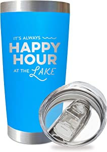 SassyCups Always Happy Hour at the Lake Tumbler Cup | 20 Ounce Engraved Blue Stainless Steel Insulated Travel Mug | Lake House Decor | Lake Housewarming | Lake Lovers | Boat Owner | Lake Accessories