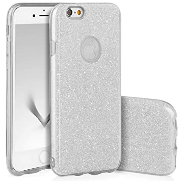 QULT Carcasa para Móvil Compatible con iPhone 6S Plus, iPhone 6 Plus Funda Silicona Dura Bumper Teléfono Brillar Purpurina Silver Caso para iPhone 6 ...
