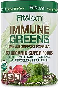 Fit & Lean Immune Greens Powder, Organic, Super Food, Non-gmo, Natural, Vegan Shake