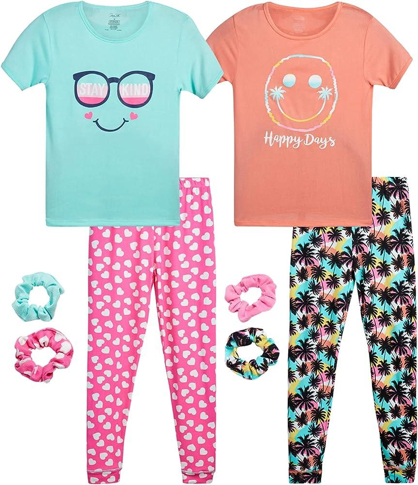 Essentials Girls 4-Piece Sleeve Short Pajama Set