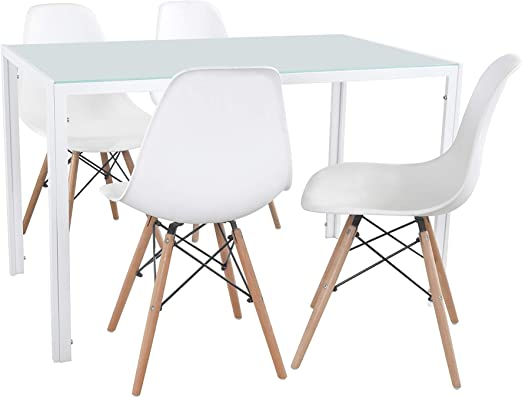 Woopi Mesa de Cocina Viena más 4 sillas Tower Blancas: Amazon.es ...