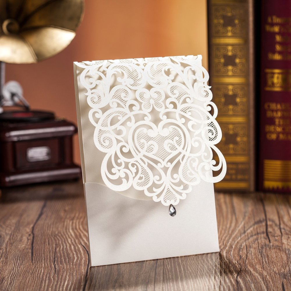 Wishmade 100X White Elegant Laser Cut Invitations Cards with Rhinestone For Wedding Engagement Bridal Shower Baby Shower Birthday Party Events Festival Gifts CW5001