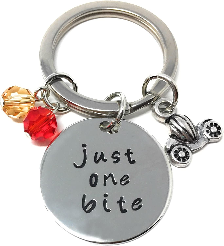 Silver-Tone 'Just One Bite' Engraved Pendant Keyring 2.2cm Diameter Snow White Poison Apple