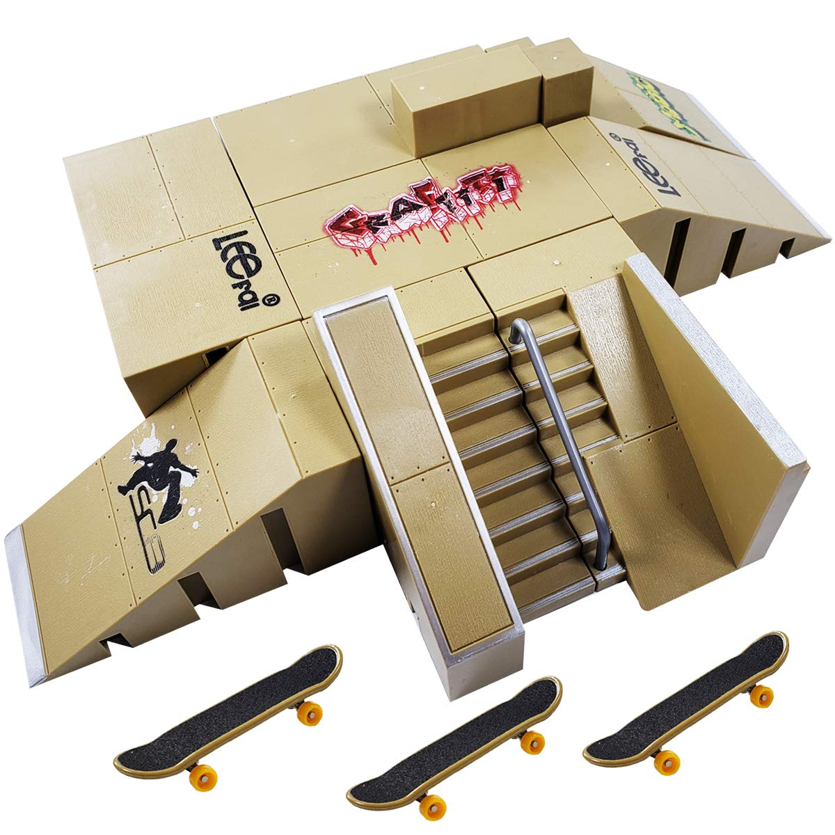 Ispeedytech 9pcs Professional Skate Park Kit Ramp for Mini Fingerboards Finger Skateboard by Ispeedytech (Image #1)