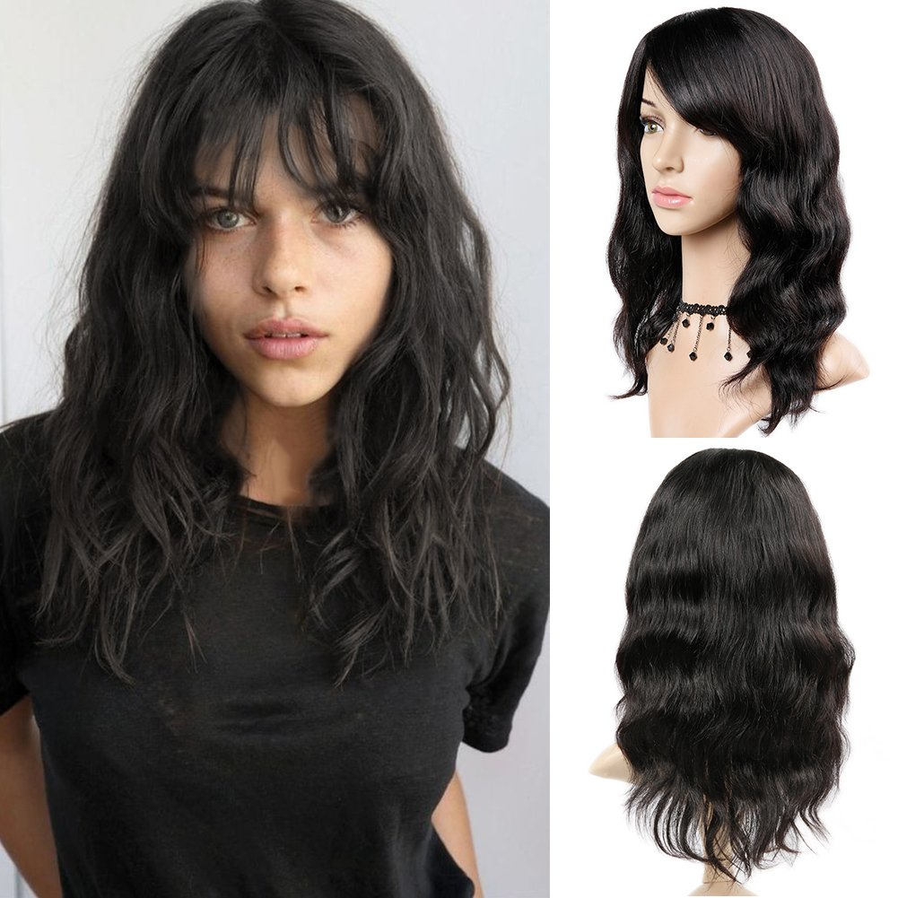 WIGNEE 100% Virgin Human Hair Natural Wave Wigs with Bangs Brazilian Human Hair Wave Wigs Natural Black Color (16'')