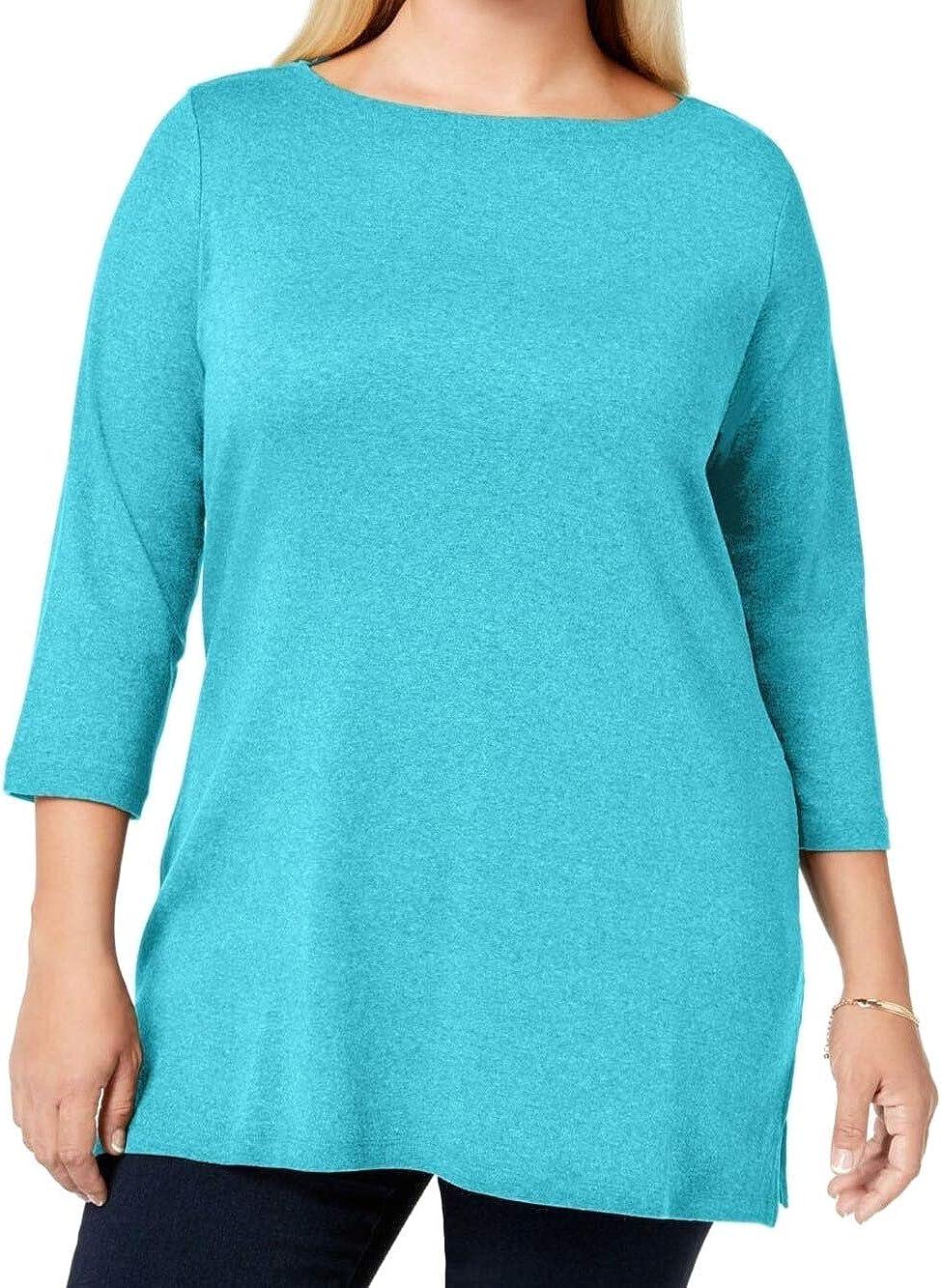 Karen Scott Womens Plus Cotton Boatneck Top