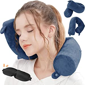 Lucear Twist Memory Foam Travel Pillow Neck, Chin, Lumbar Leg Support Traveling on Airplane, Bus, Train at Home (Navy Blue)