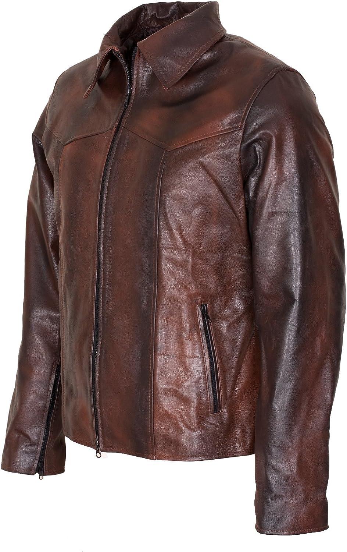 Vintage Waxed Mens Genuine Brown And Black Designer Leather Jacket