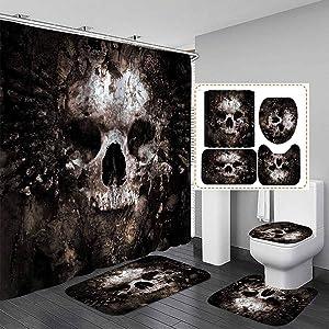 Fashion_Man 16PCS/Set Floral Sugar Skull Shower Curtain Polyester Waterproof Rose Flower Bath Curtain Bathroom Rugs Toilet Lid Cover Skeleton Halloween Decor Gothic Style, 72