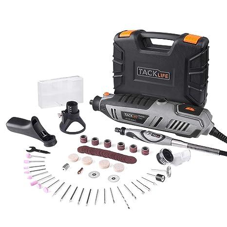 Amoladora Eléctrica, Tacklife-RTD36AC Herramienta Rotativa 200W con 63 accesorios y 4 juntos,