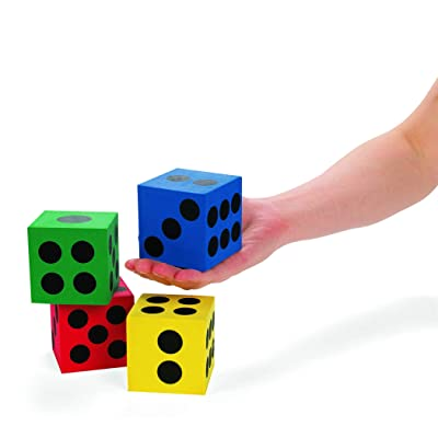 Foam Jumbo Playing Dice (12 Pieces) Assorted Primary Colors, Outdoor/Indoor Games, Classroom Supplies: Sports & Outdoors